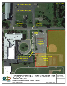 map of temporary parking at Perth campus