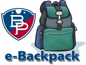e-Backpack clip art of backpack and school logo