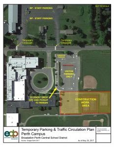 map of temporary parking situation at Perth campus