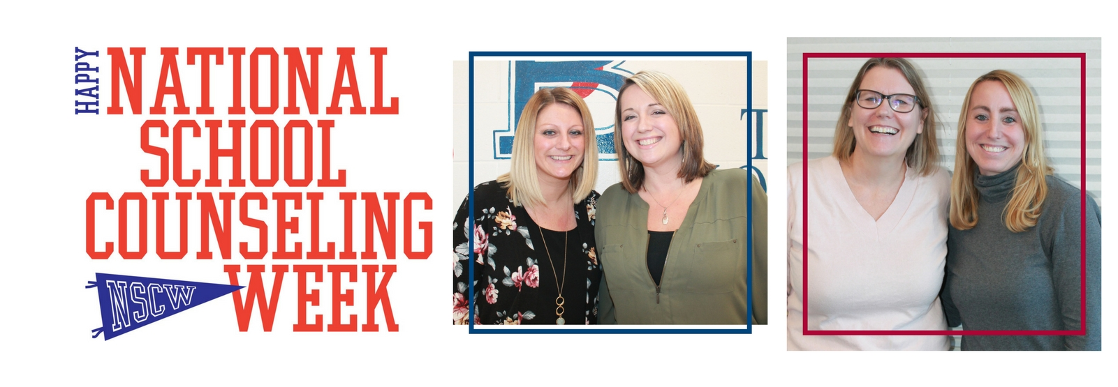 national school counseling week with pictures of four school counselors