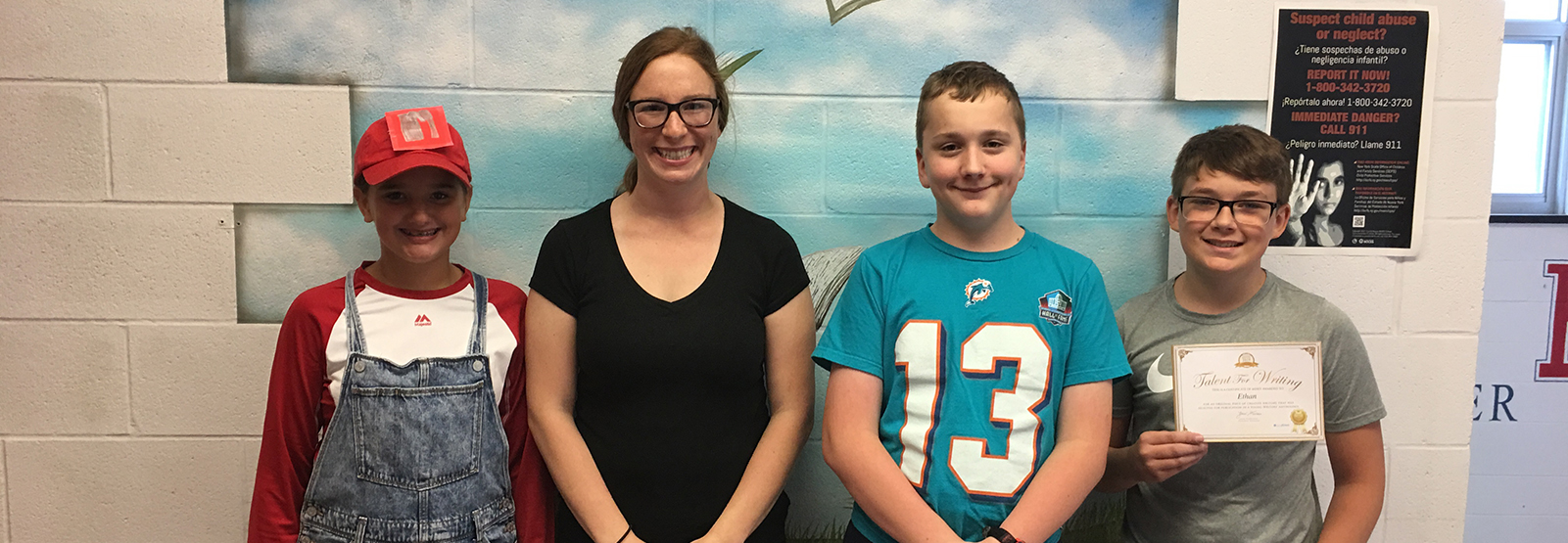 student award winners for a national writing contest pose for a picture