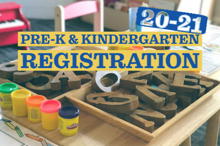 graphic of preschool letters and text: pre-K and kindergarten registration