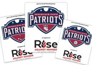 thumbnails of three Rise Against Hunger sponsor cards