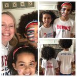 collage of family wearing BP patriots shirts with face paint