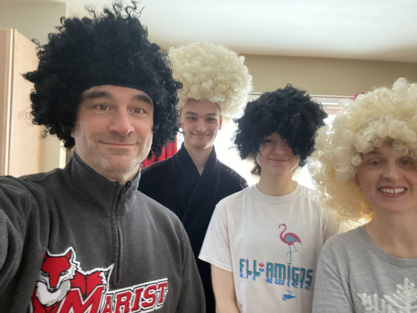 family in crazy wigs