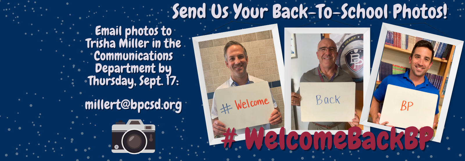 Photo showing BP Principals encouraging families to send in their back-to-school photos