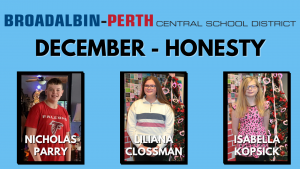 "three students were selected as December ""Students of the Month"" based on the characteristic of honesty - each student is shown smiling at the camera, with their names on the image; from left to right, the names read Nicolas Parry, Liliana Clossman and Isabella Kopsick."