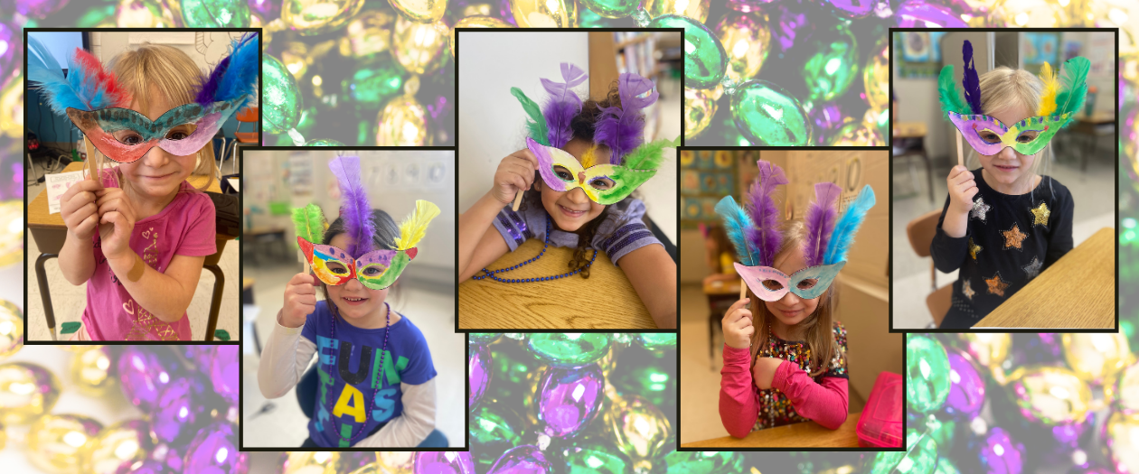 A montage of photos of five kindergarten children showing off very colorful masks that they made for Mardi Gras.