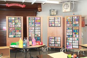 Art projects are on display inside the art room at BPES.