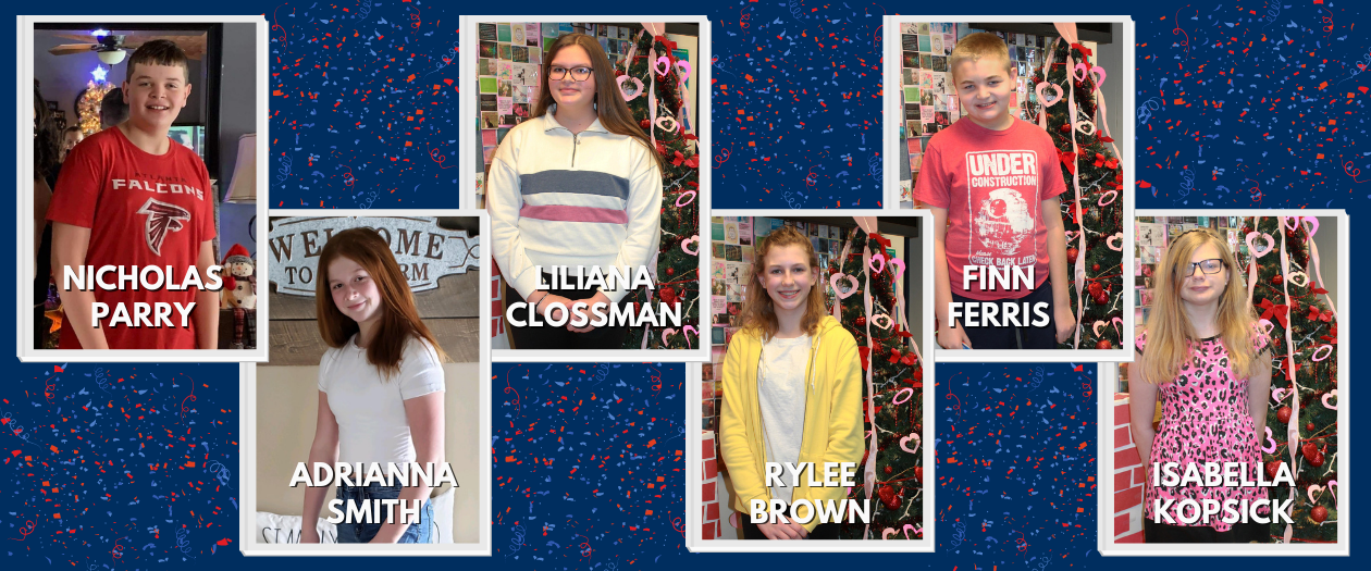 Individual photos are shown of the six students who were chosen for Students of the Month for both December and January.