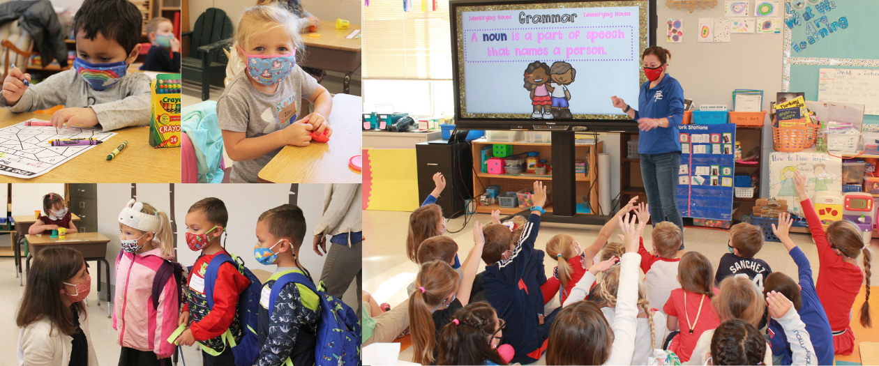 A montage of several students in the classroom at B-P elementary school.