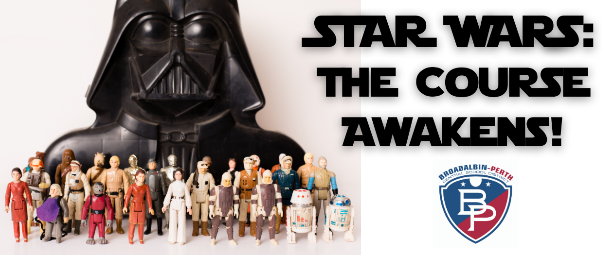 """""""Star Wars""""-themed toy characters displayed next to the B-P logo"""