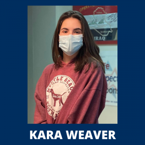 """a young girl with dark hair wearing a red sweatshirt with a dog logo on the front, is shown wearing a face mask; her name is written below her picture, """"Kara Weaver"""""""