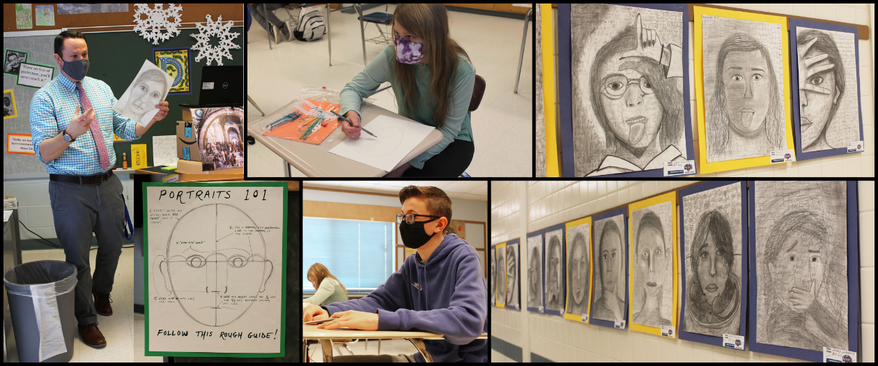 A montage of photos show a man wearing a blue shirt and tie, teaching his art students how to draw self portraits. The students' finished products are shown lining the hallways of the school.