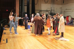 A group of theater students block a dance number on the B-P stage.