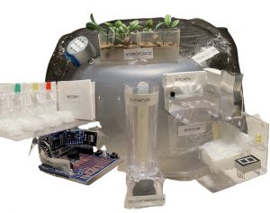 a model made by kids that shows a sustainable house that could exist on the moon.
