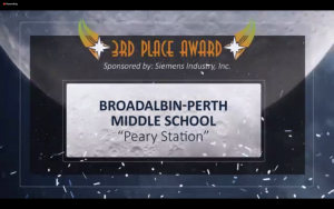 a screen grab from the Future City competition awards ceremony, announcing Broalbin-Perth as the third place winner.