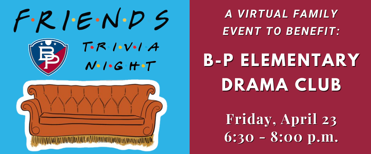 """A graphic that shows the left side with a couch and the words """"Friends Trivia Night"""" and on the right side, the date and time of the event."""
