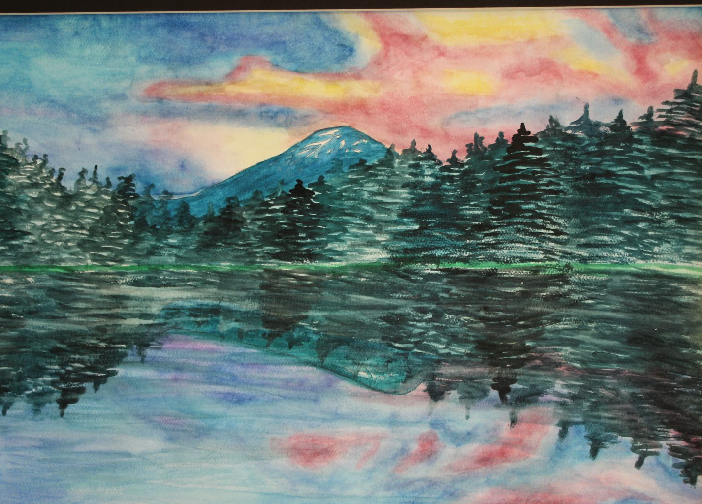 a colorful landscape scene is drawn with pine trees reflecting in a lake and a sunset sky