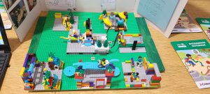 a scene built out of LEGOS is used as part of the students' presentation