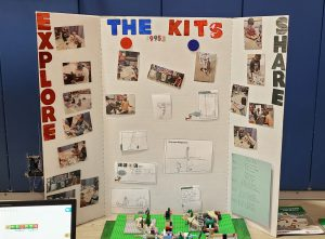 a trifold posterboard shows the Kits' presentation
