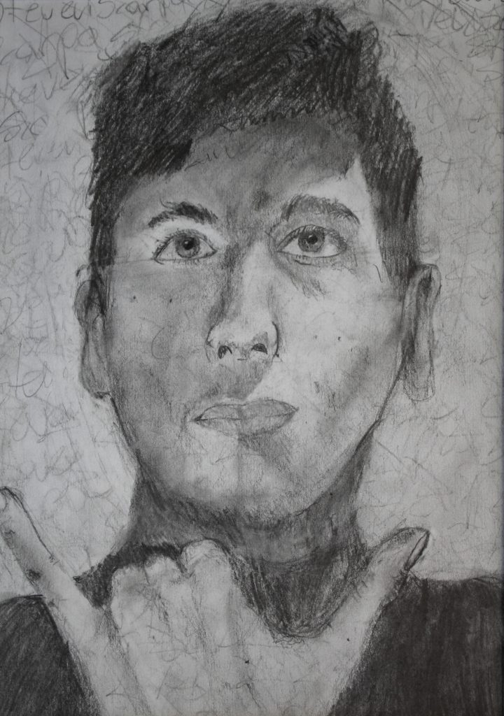a black and white self portrait of Steen Scarpa