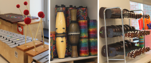 three images show instruments in a classroom, including a xylophone, drums and ukeleles