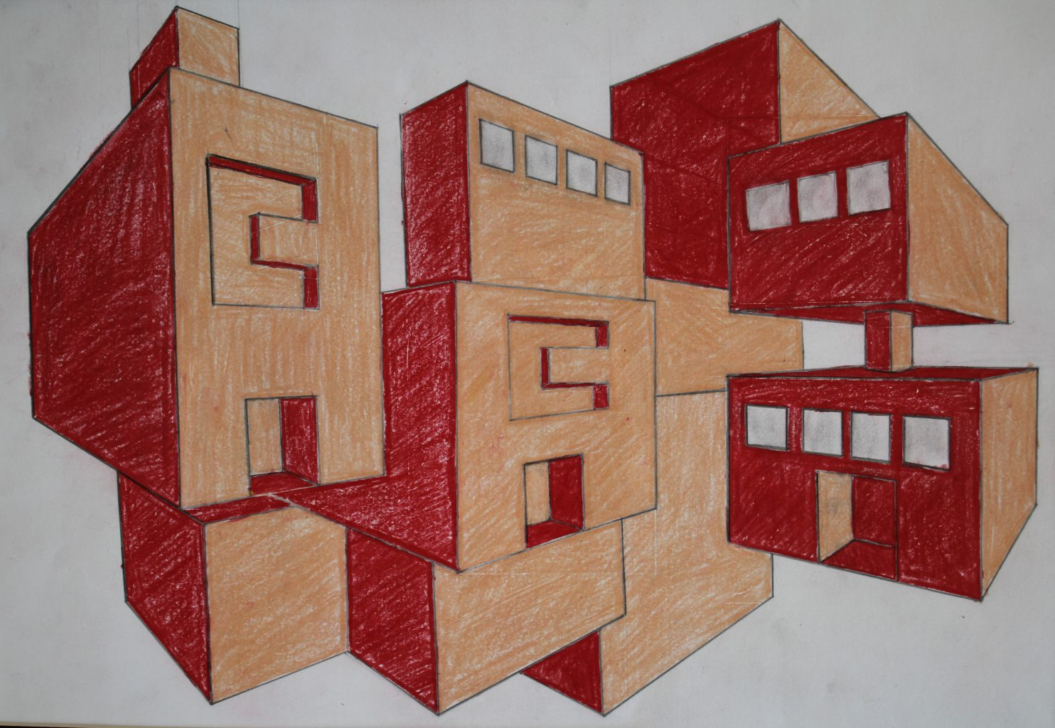 a 3-d drawing of blocks, using a peach and red color theme