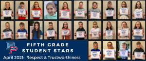 """a montage of fifth grade students are shown holding up their certificates for being named a """"Student Star"""" under the characteristics of Respect and Trustworthiness."""