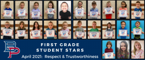 """a montage of first grade students are shown holding up their certificates for being named a """"Student Star"""" under the characteristics of Respect and Trustworthiness."""