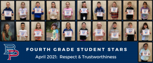 """a montage of fourth grade students are shown holding up their certificates for being named a """"Student Star"""" under the characteristics of Respect and Trustworthiness."""