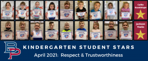 """a montage of kindergarten students are shown holding up their certificates for being named a """"Student Star"""" under the characteristics of Respect and Trustworthiness."""