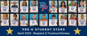 """a montage of pre-kindergarten students are shown holding up their certificates for being named a """"Student Star"""" under the characteristics of Respect and Trustworthiness."""