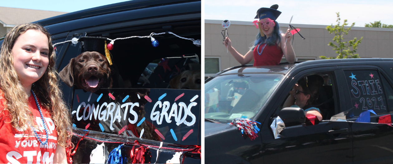 two young ladies are shown near their decorated cars for the class of 2021 senior drive through event.