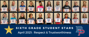 """a montage of sixth grade students are shown holding up their certificates for being named a """"Student Star"""" under the characteristics of Respect and Trustworthiness."""