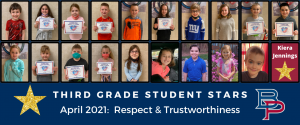 """a montage of third grade students are shown holding up their certificates for being named a """"Student Star"""" under the characteristics of Respect and Trustworthiness."""