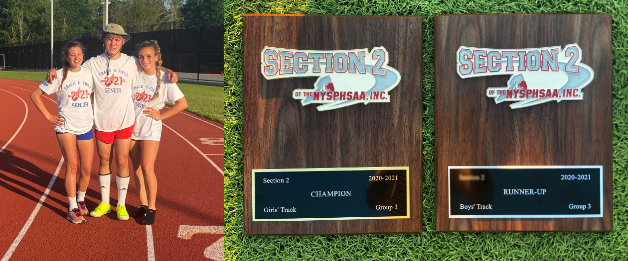 three athletes pose together on an outdoor track and two championship plaques are shown on green outdoor turf