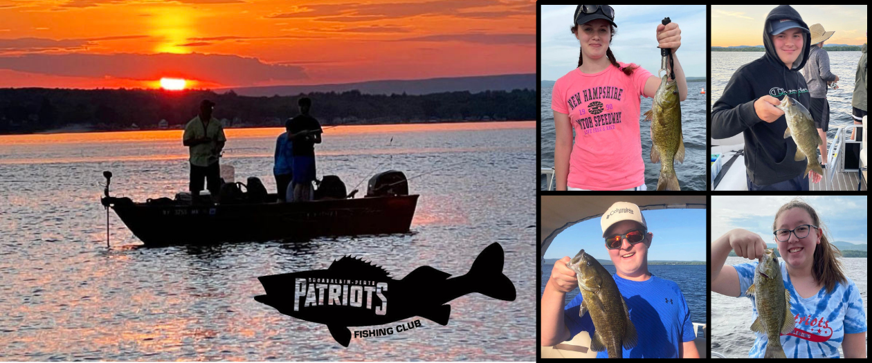 a montage of photos shows two shadowy figures fishing from a boat in a lake with a sunset behind them; with four individual photos of teenage students holding up fish that they have caught