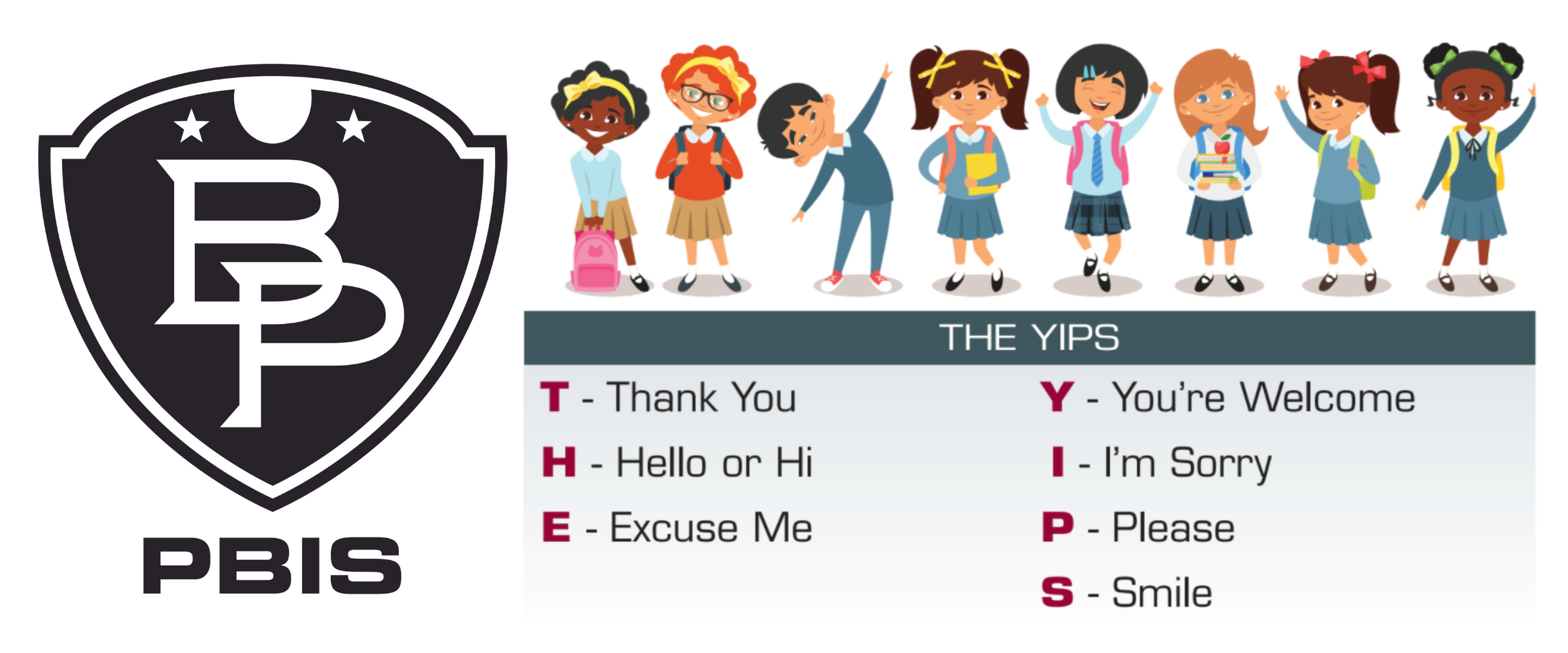 a black and white B-P patriots shield logo is shown with the letters PBIS underneath, next to eight animated figures of children with the acronym THE YIPS spelled out