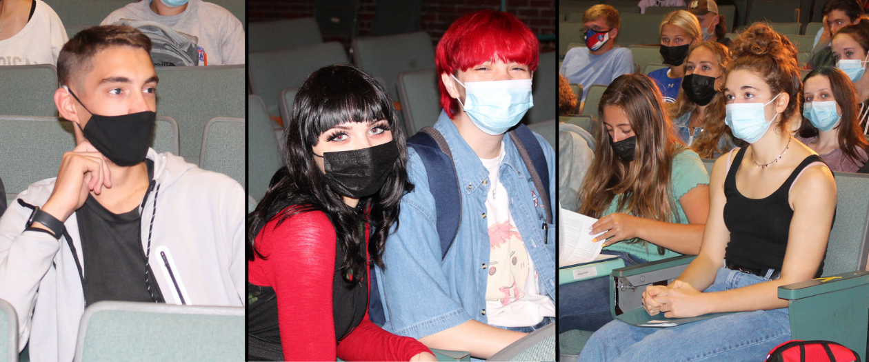 a montage of students wearing masks sitting in an auditorium