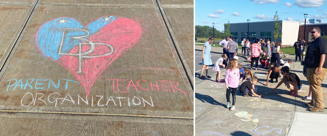 a montage of photos shows adults and students creating art on a sidewalk and a blue and red heart with the initials BP in the middle
