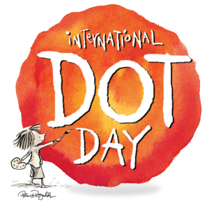 """a cartoon figure shows a young girl paiting the words """"international dot day"""" on an orange circle"""