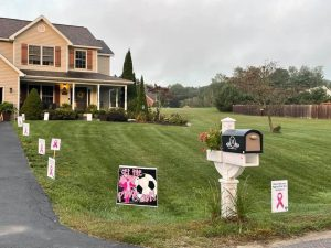 a house is shown with pink signs all over the front lawn