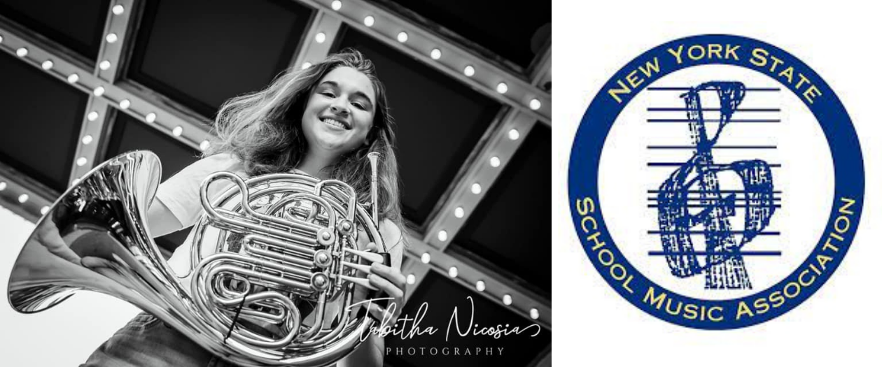 a young musician is shown in a black and white photo, holding a french horn, next to a NYSSMA logo