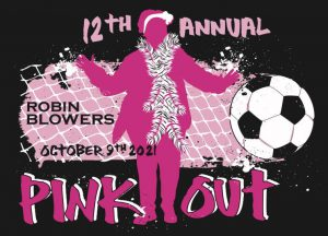 """a black background is behind a pink and white logo featuring the text """"12th annual pink out,"""" the figure of a woman wearing a scarf, and a soccer ball"""