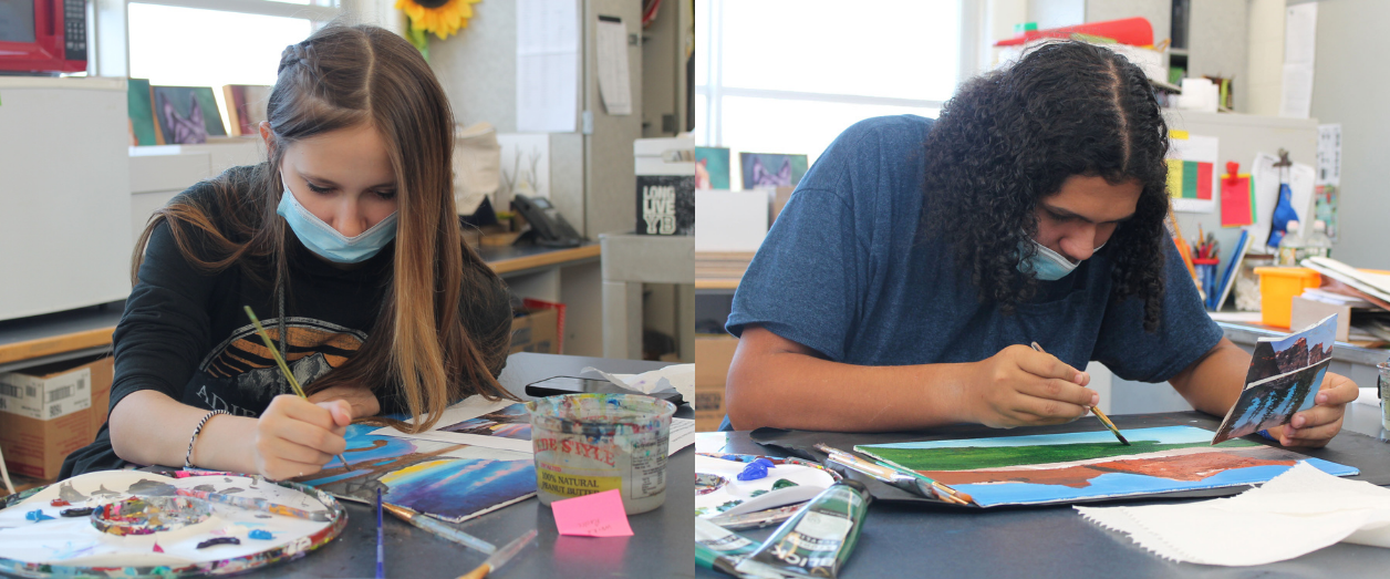 a female student and a male student are each shown painting a landscape portrait