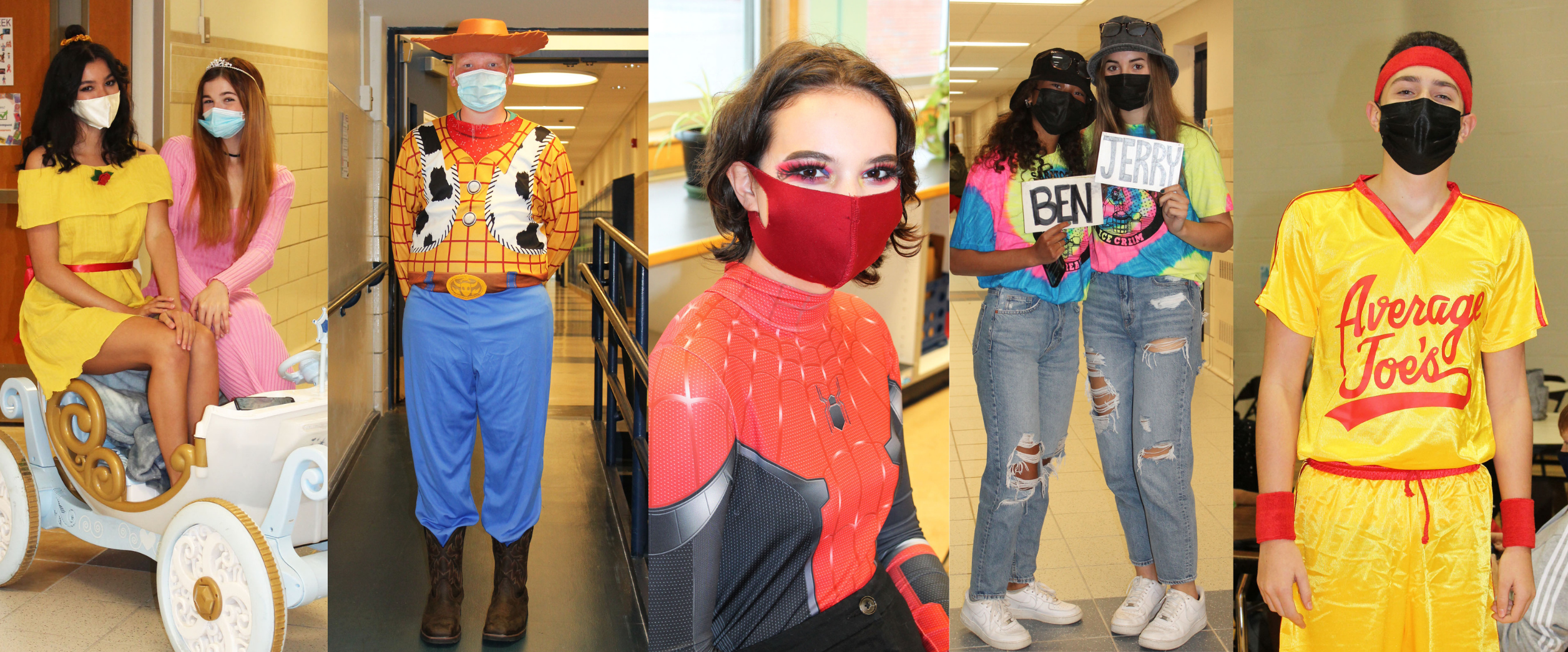 a montage of five photos show students dressed in costume as their favorite characters