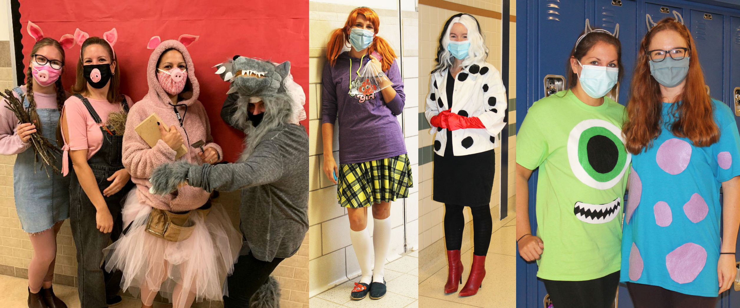 a montage of photos shows teachers dressed up as their favorite characters.