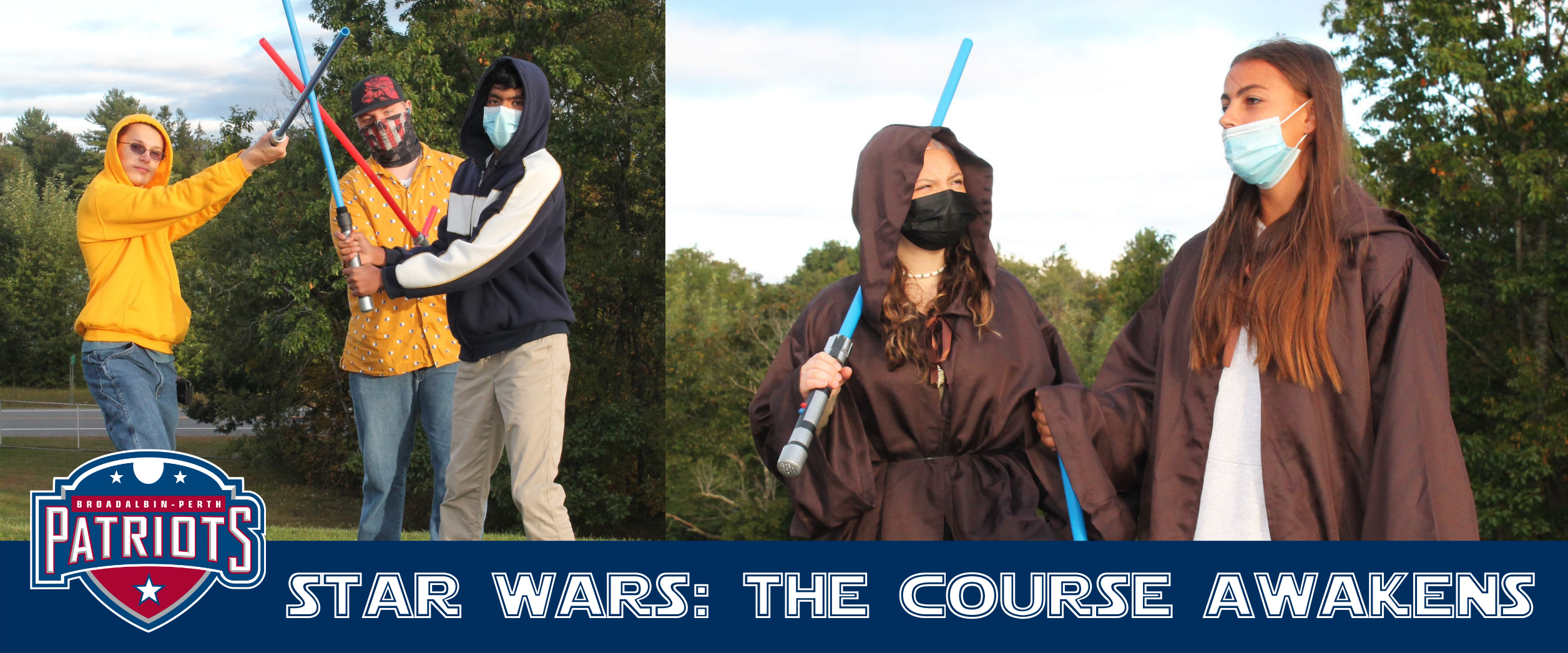 """a montage of two photos shows three young men holding up light sabres and two young women wearing brown capes, with the words """"Star Wars"""" The Course Awakens"""" at the bottom"""
